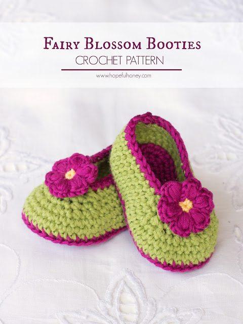 Bottini del bambino del fiore del crochet Free pattern