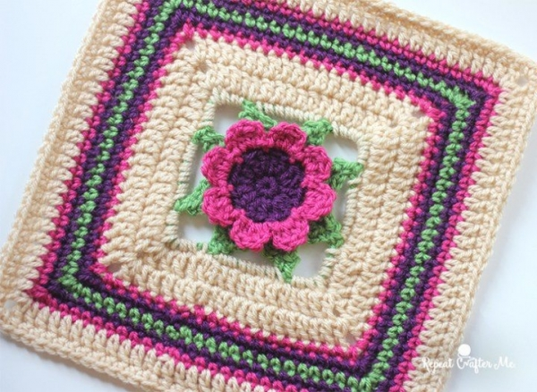 crochet flower granny square free pattern