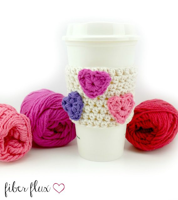 crochet heart cup cozy free pattern