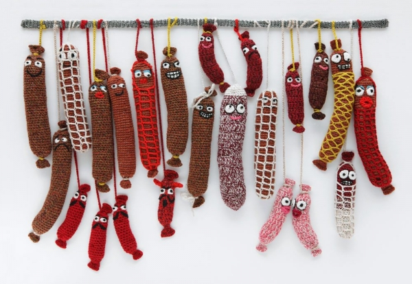 crochet sausage art
