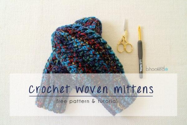 crochet woven mittens free pattern