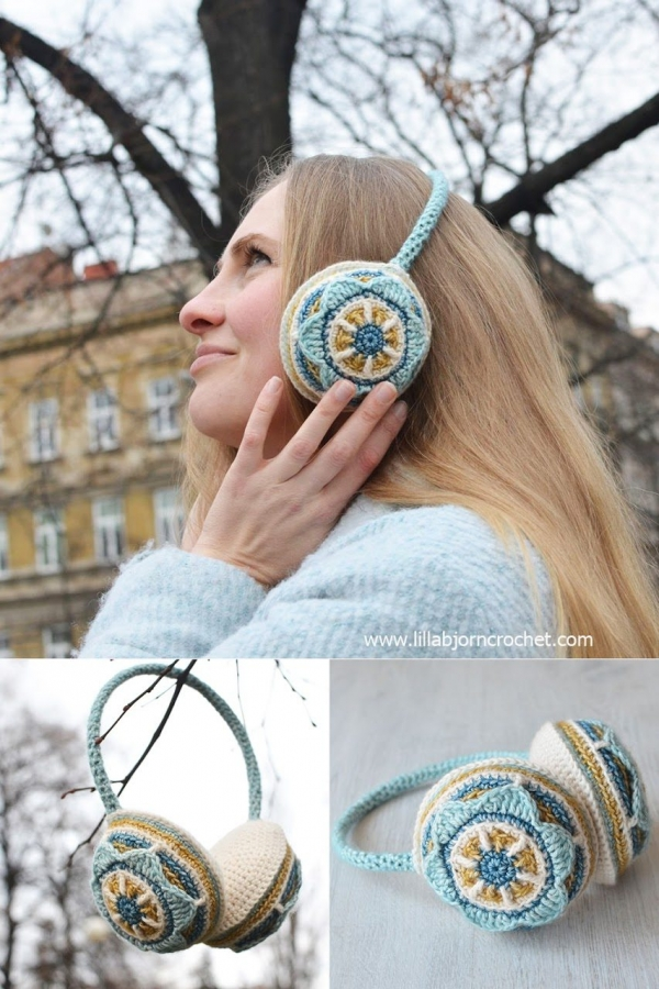 floral ear muffs free crochet pattern