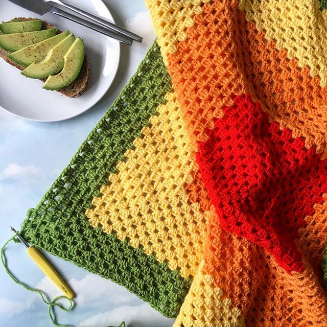 laura_makes citrus colored crochet granny blanket