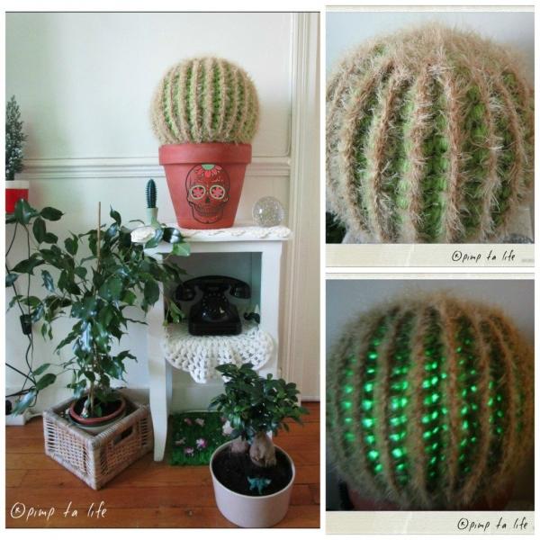 led lit crochet cactus