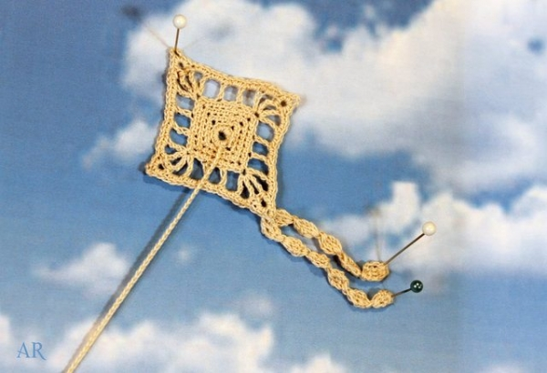 thread crochet kite motif free pattern