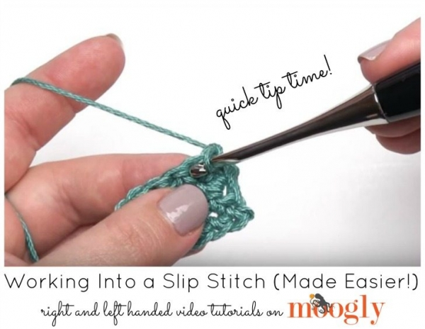 tip for working into slip stitch