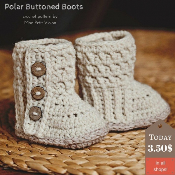 buttoned crochet baby boots