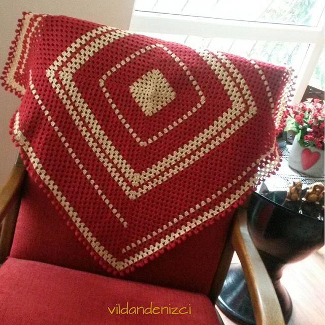 vildandenizci crochet red granny square blanket