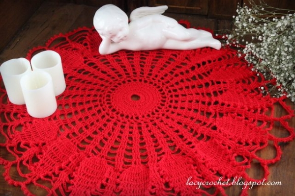 vintage red doily free crochet pattern