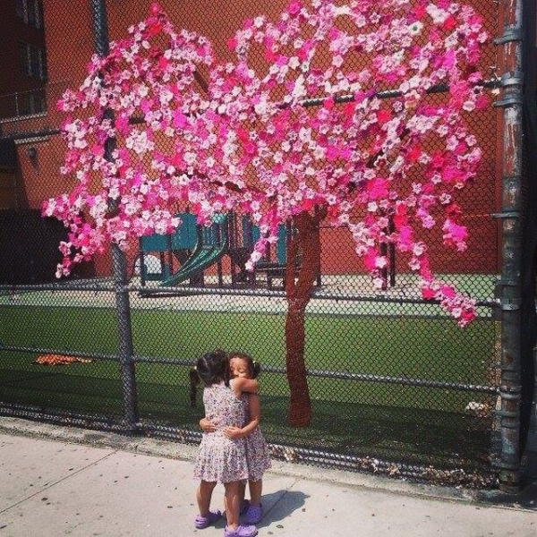crochet cherry blossom flower yarnbombing art