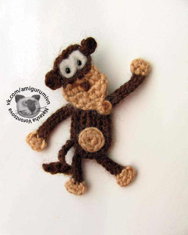 crochet monkey applique free pattern
