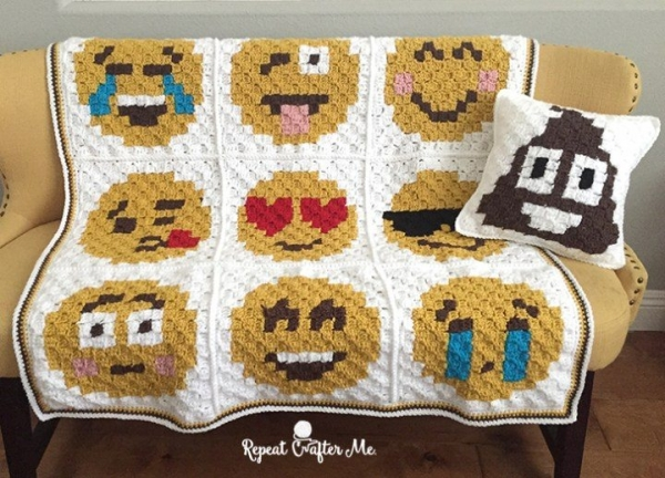 emoji crochet blanket free pattern with pillow