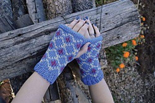 fair isle tunisian crochet mitts