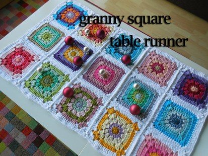 granny square crochet table runner