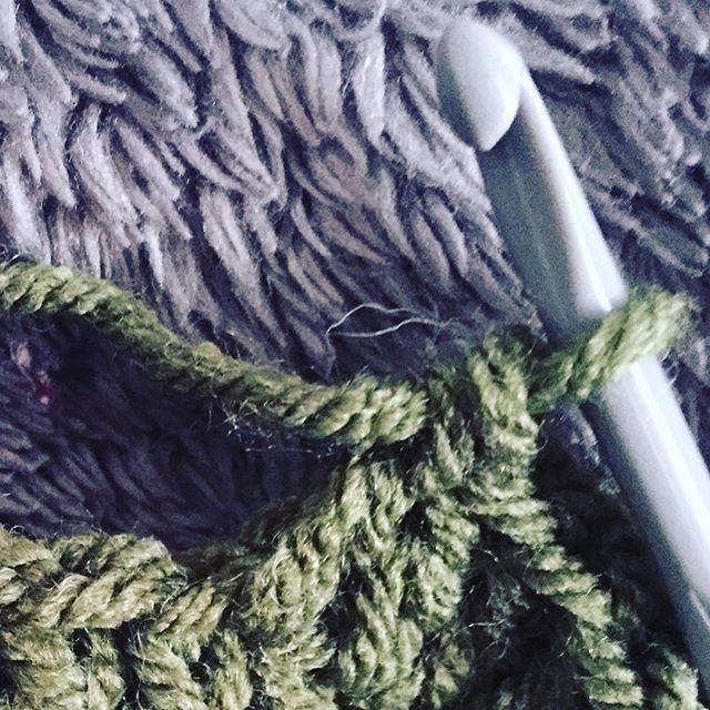 green crochet hook