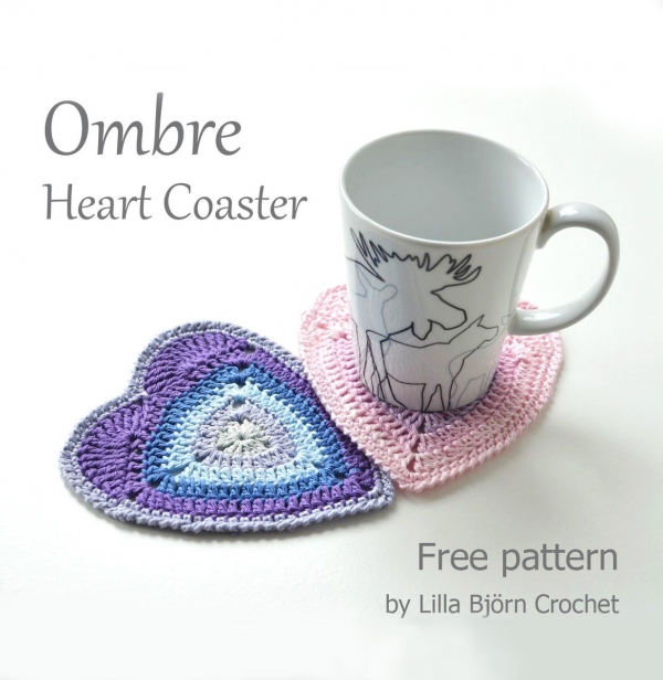 ombre heart coaster free crochet pattern
