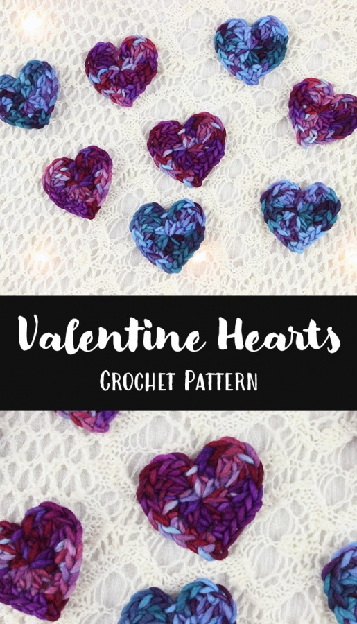 small valentine's hearts free crochet pattern