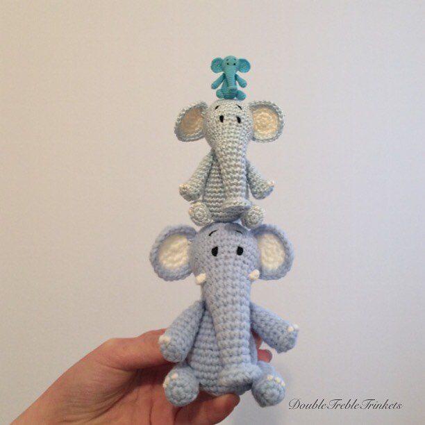 doubletrebletrinkets micro crochet elephants