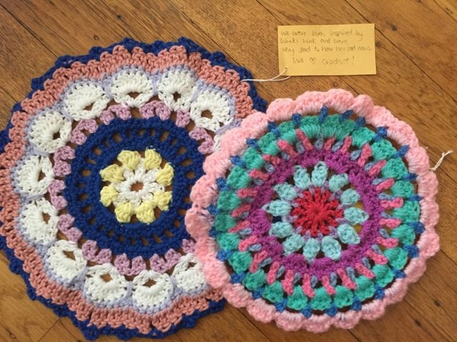 kerrie and kara crochet mandalas for marinke