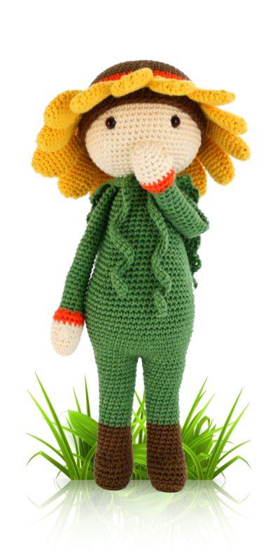 sunflower sam crochet flower doll pattern