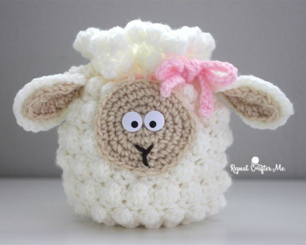 bobble stitch crochet sheep bag