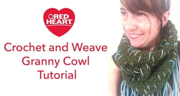 crochet and granny weave cowl