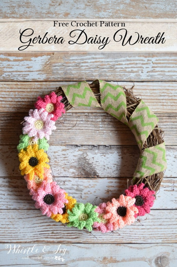 crochet daisy wreath free pattern