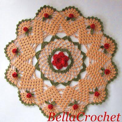 free crochet roses doily pattern