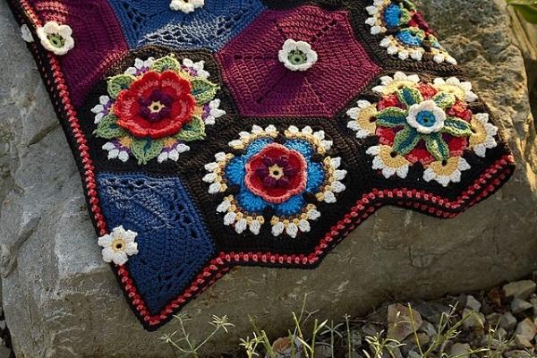 fridas flowers crochet blanket free pattern