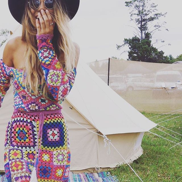 granny crochet dress at coachella