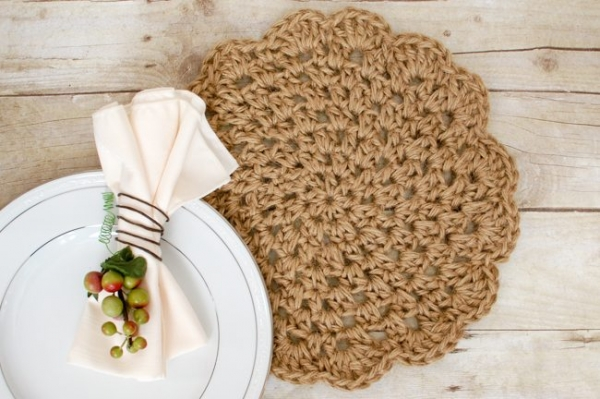 jute haak placemats Patroon