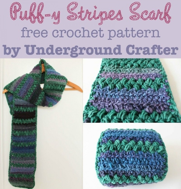 puffy stripes crochet scarf free pattern