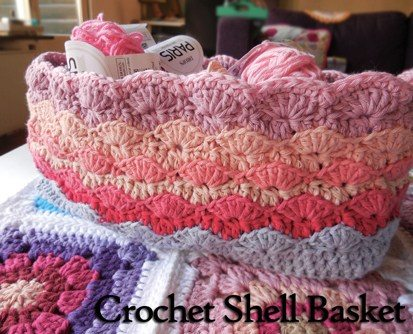shell basket free crochet pattern