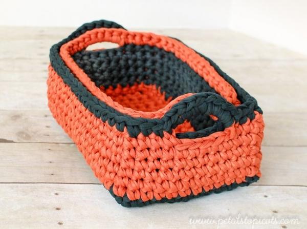 t-shirt yarn crochet nesting baksets