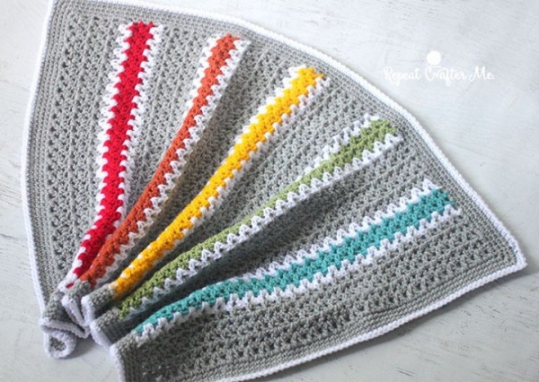 vstitch rainbow blanket free crochet pattern
