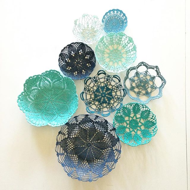blue doily art