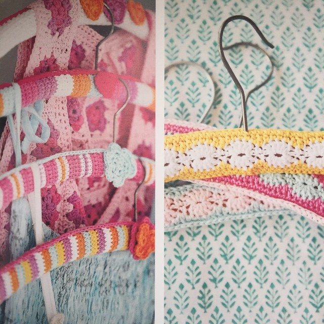 colorful crochet coat hangers
