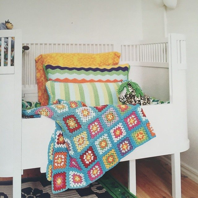 colorful crochet granny blanket