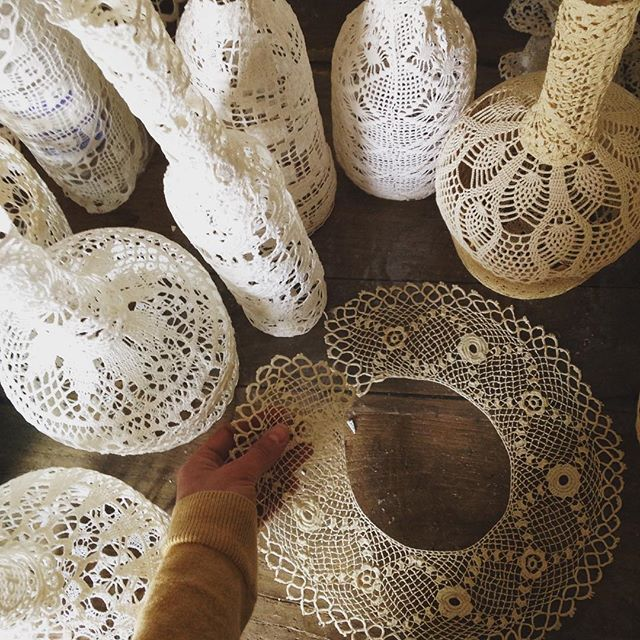 doily jar art