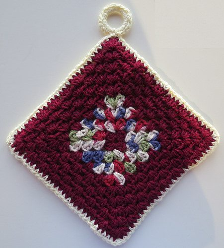 granny crochet potholder free pattern