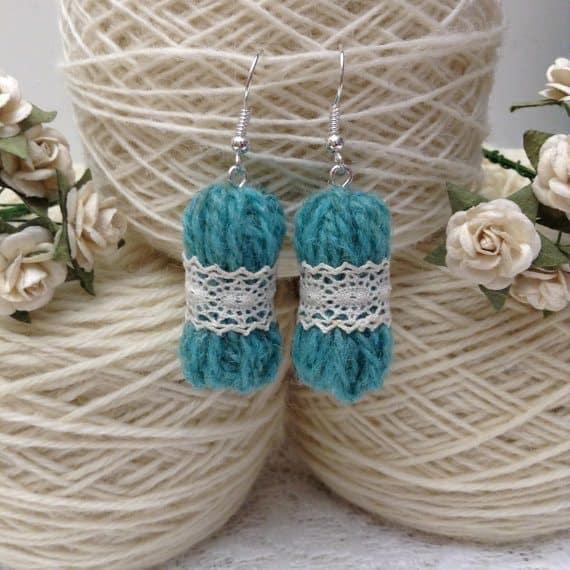 micro yarn doily earrings