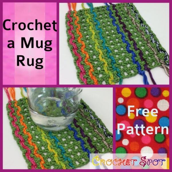 tassled mug rug free crochet pattern