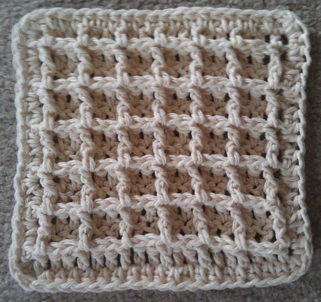 Waffle Crochet Dishcloth