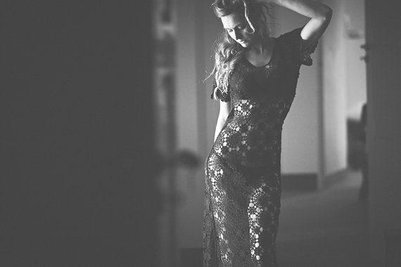 black crochet doily dress