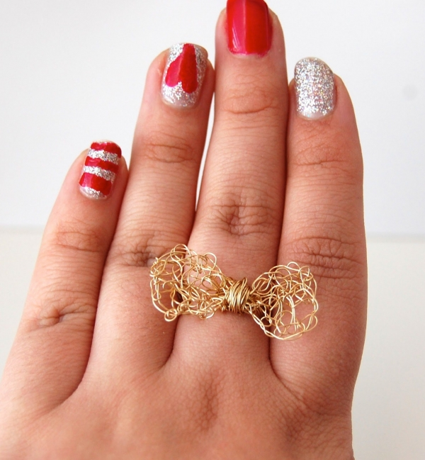 wire crochet bow ring