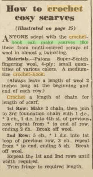 cosy scarf vintage crochet pattern