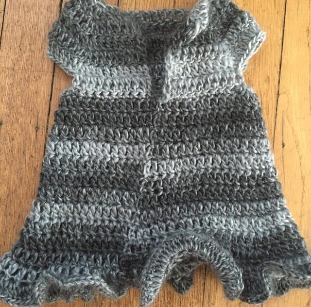 crochet baby dress with ruffle hem