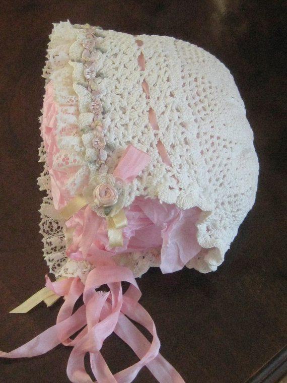 crochet bonnet vintage