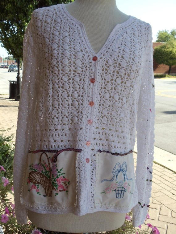 crochet cardigan with vintage fabric
