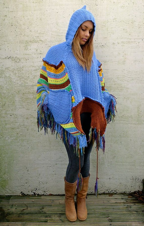 hooded crochet poncho